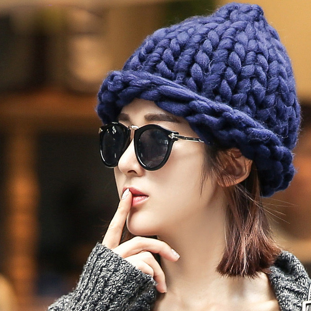 Hand-knitted Hat Coarse Lines Cable Knit Hat Winter Hats For Women Lovely  Women s Fashion Hats BM14 dc84cac68d4