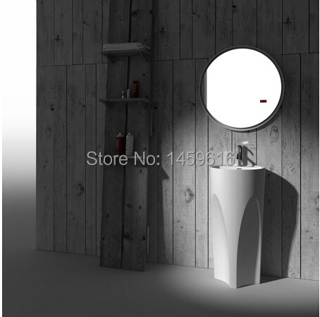 Bathroom Round Pedestal Washbasin Solid Surface Stone Cloakroom Freestanding Vanity Sink W9020