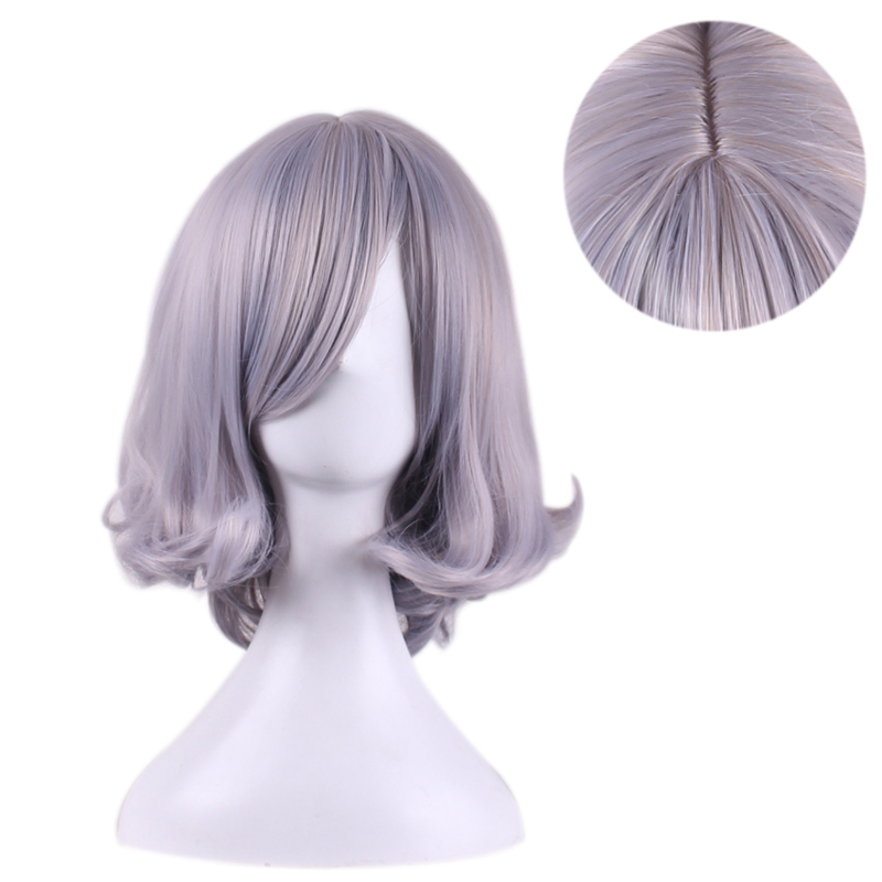 women Anime cosplay hair wig with bangs ombre mixed grey wigs curly heat resistant synthetic short gray