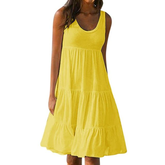 MISSOMO Women Holiday Summer dress Solid Sleeveless Party sundress Beach Dress women clothes 2019 Vestidos De Festa 624