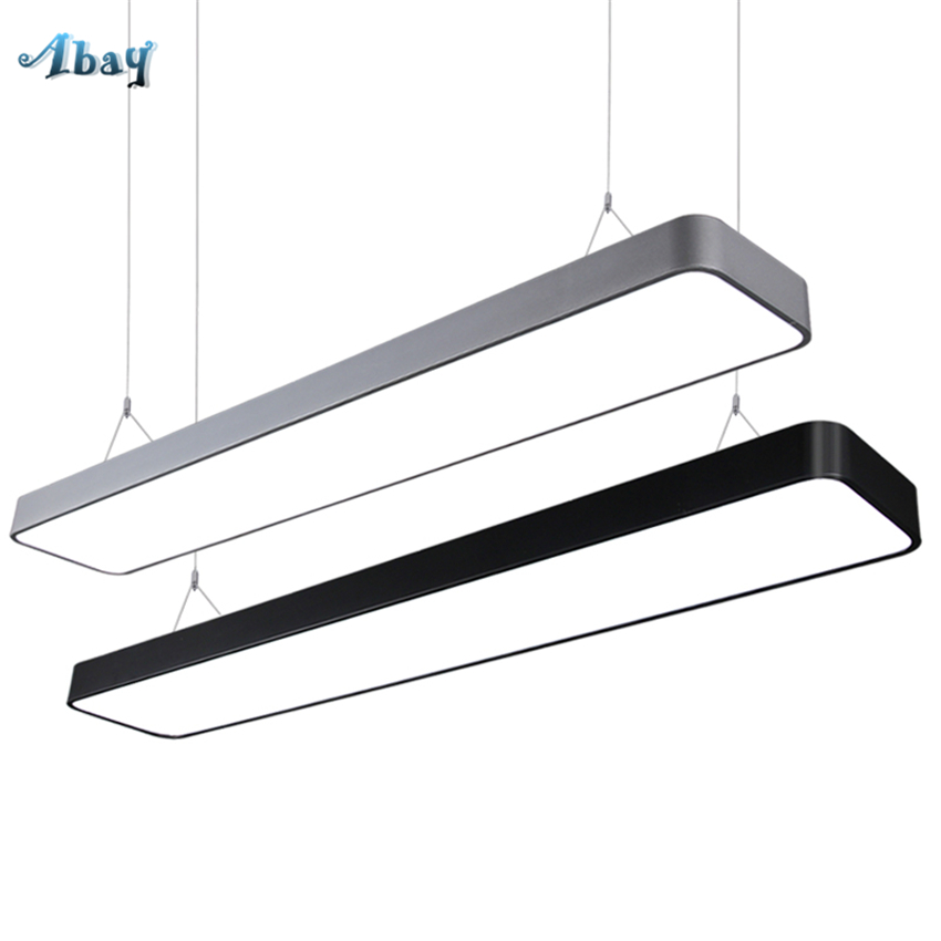 Basement Lighting Fixtures: Modern Led Office Pendant Lights Rectangular Hanging Wire
