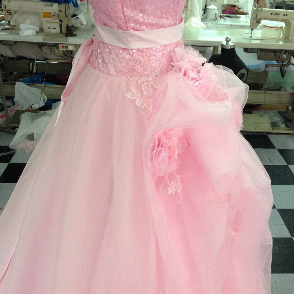 Hermosa rosa a line vestidos de baile 2017 con lentejuelas blusa de ...