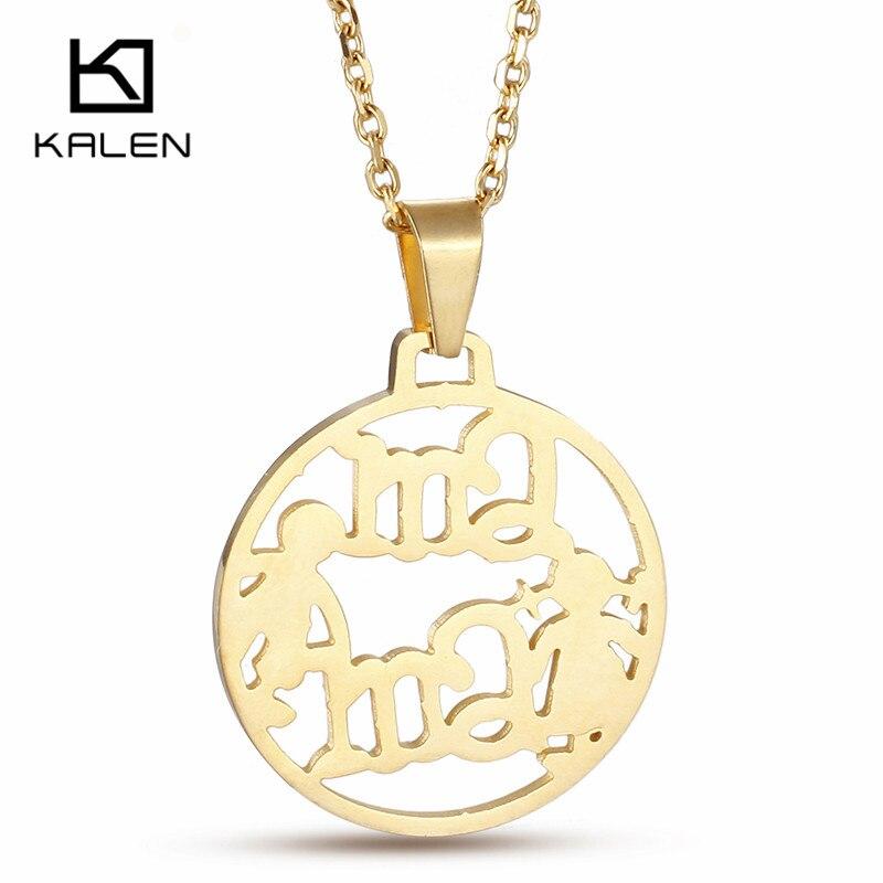 Kalen День матери Подарки для мамы Нержавеющаясталь золото Цвет письмо MAM для мальчиков и девочек круглый Ожерелья для мужчин Подвески Винта...