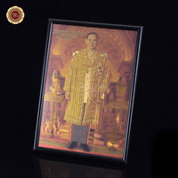 WR Gold Banknote Thailand King  Bhumibol Adulyadej Gold Foil Photo Frame The Longest-serving Head of State Unique Collection