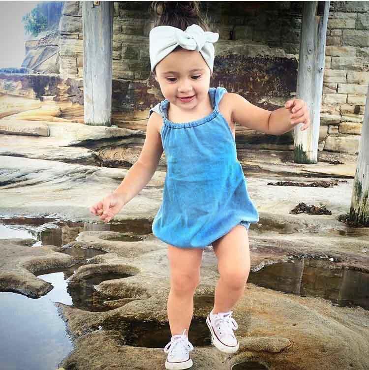 2017 Sweet Toddler Baby Kids Denim Hoodie Vintage Rompers Loose Summer Casual Clothing Sleeveless Rompers