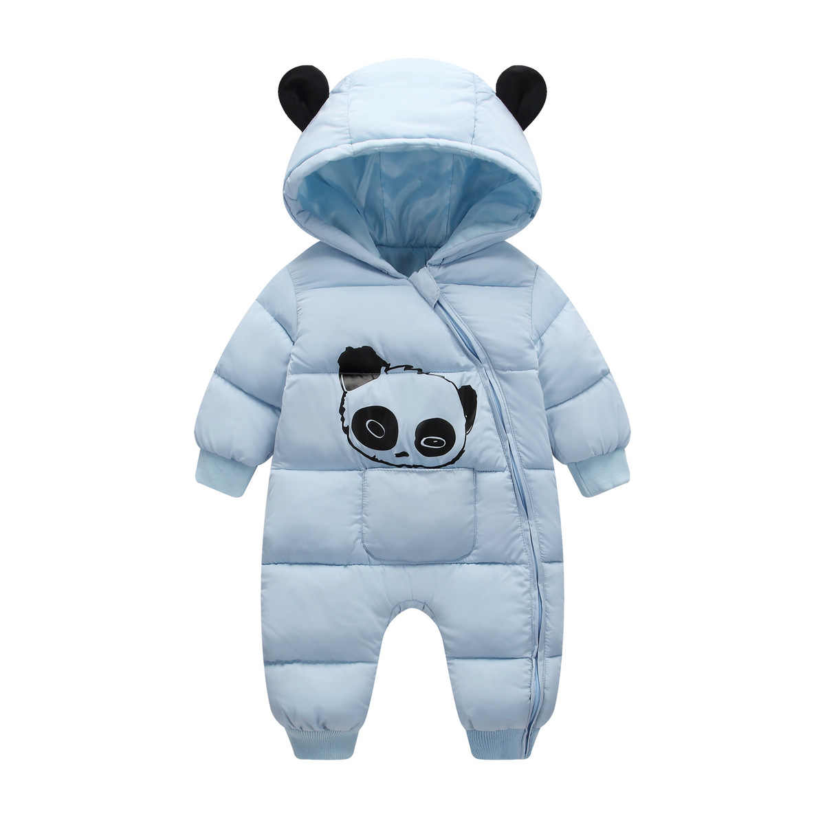 90bc04cc931d ... Baby boy girl Clothes 2018 New born Winter Hooded Rompers Thick Cotton  Outfit Newborn Jumpsuit Children