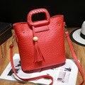 New Luxury OL Busines Style PU Leather Women Shoulder Bag Tassel Lady Handbags High Quality Ostrich Pattern Female Crossbody Bag