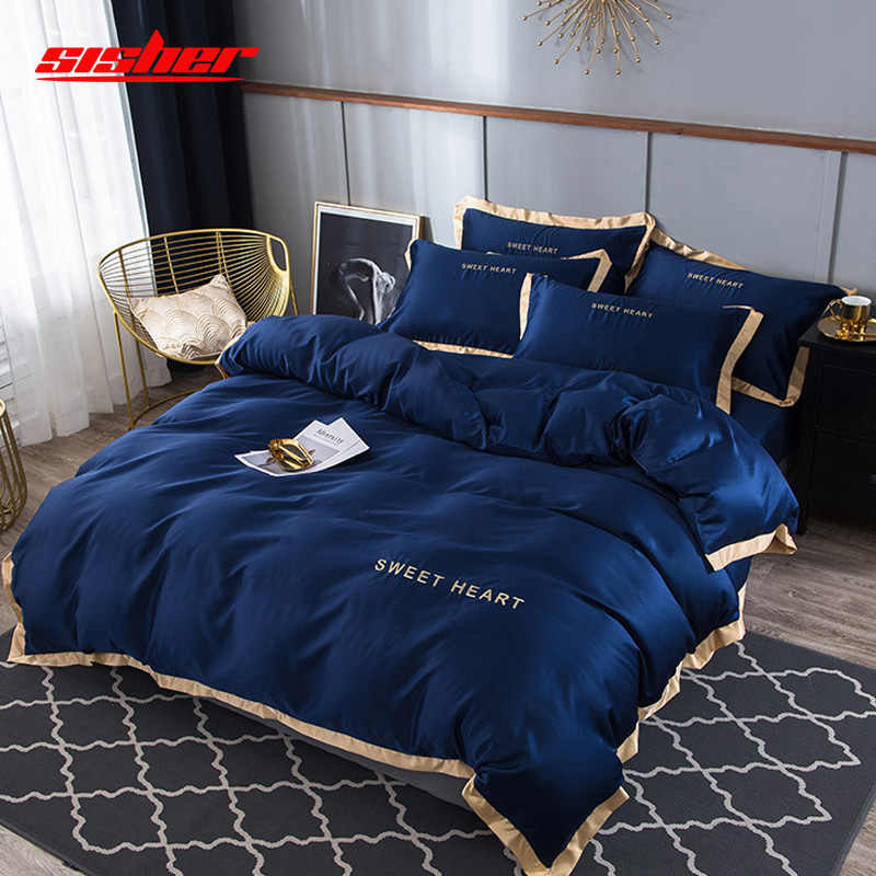 Sisher Ensemble De Literie De Luxe 4pcs Drap Plat Literie Brief Housses De Couette King Confortable Couvre Couette Queen Size Literie Literie