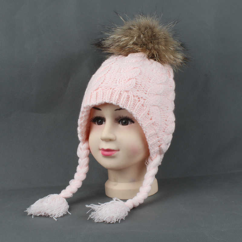 3e4549f29d18f ... Kids Hats Winter Warm Fleece Liner Cap For Children Girls Cotton Knitted  Ponytail Beanie Real Fur ...