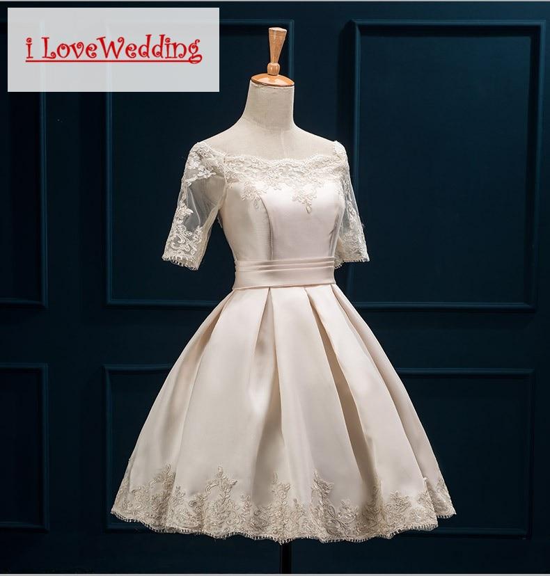 iLoveWedding Bourgondische korte prom dresses Halflange mouw Satijnen - Jurken voor bijzondere gelegenheden - Foto 2