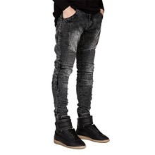 купить Men Jeans Runway Slim Racer Biker Jeans Fashion Hip Hop Skinny Jeans for Men Streetwear Street Style  Full Length Straight Jeans дешево