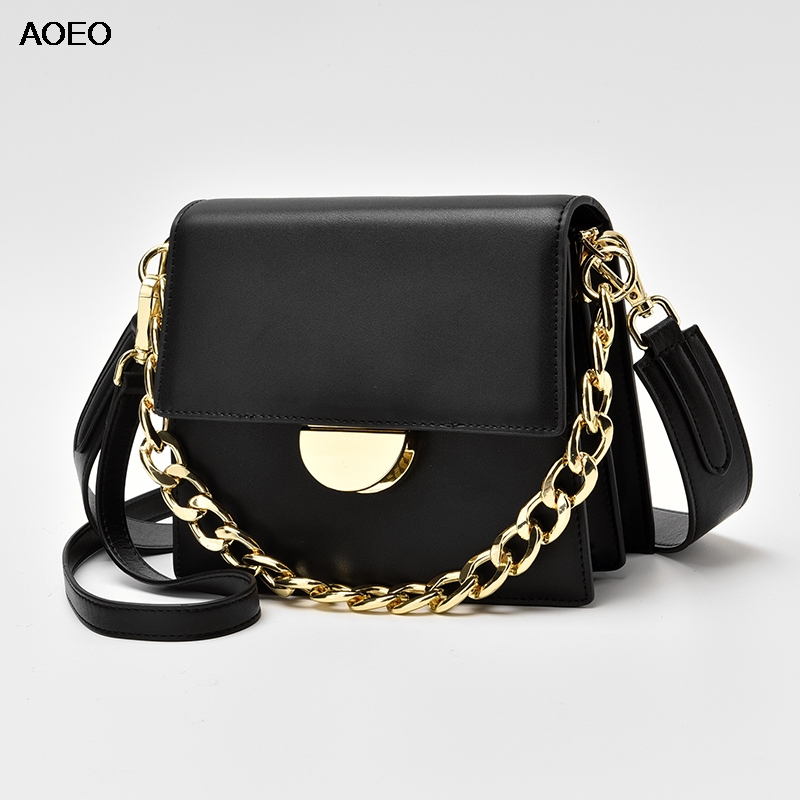 AOEO Summer Womens Shoulder Messenger Bag Split Leather Three Strap Chains Luxury Handbags For Girls New