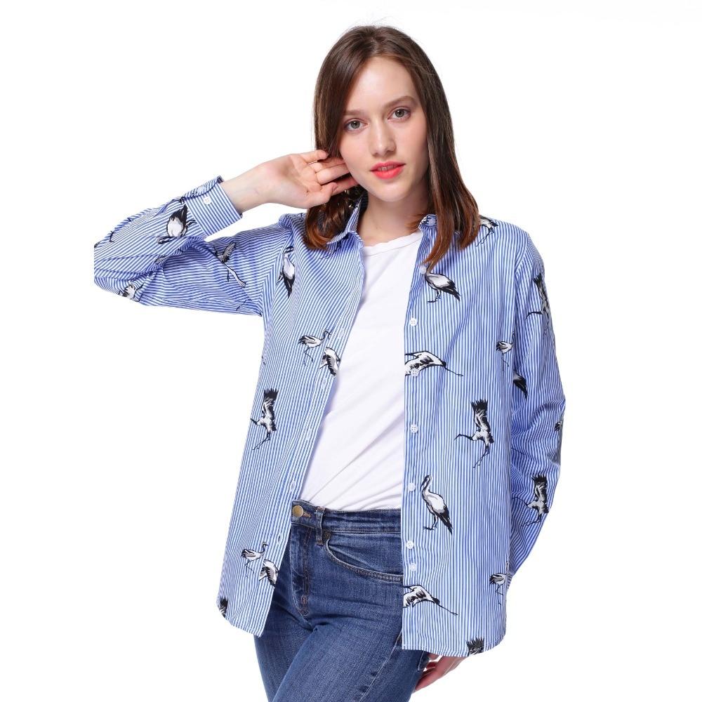 Dioufond 2018 Hayvan Baskı Gömlek Kadın Pamuk Bluzlar Çiçek - Bayan Giyimi - Fotoğraf 3