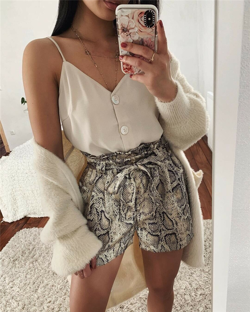 Sexy Animal Snake Printed High Waist Shorts Women Casual Loose Short Biker Hot Shorts Beach Party Club Wear