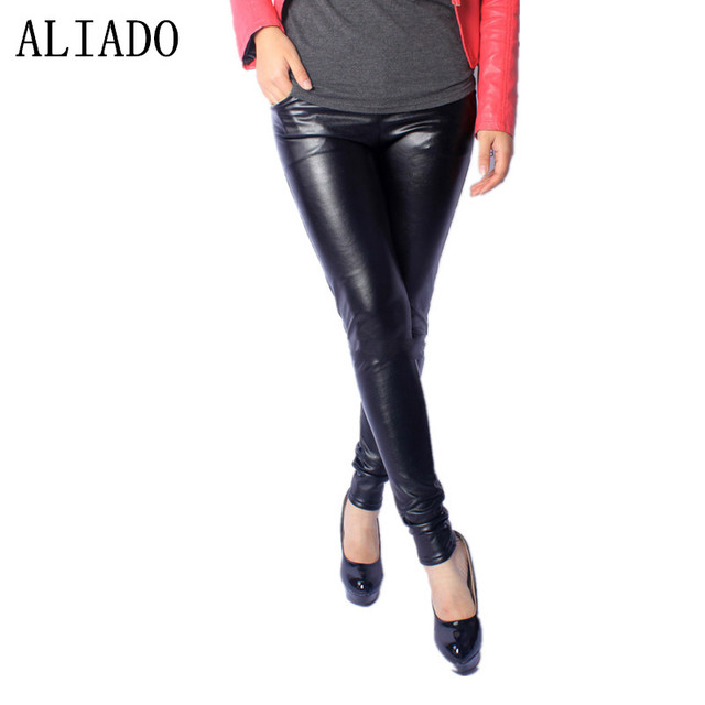 Winter Hot Sale Plus Size X:~5XL Fat MM Solid Black Slim Skinny Faux Leathe Flocking Thick PU Women Leggings