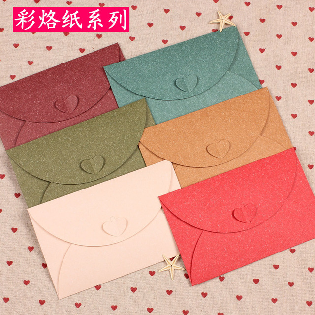 20pcslot retro color branded leather pearl size heart buckle decorative envelopes and cards containing - Decorative Envelopes