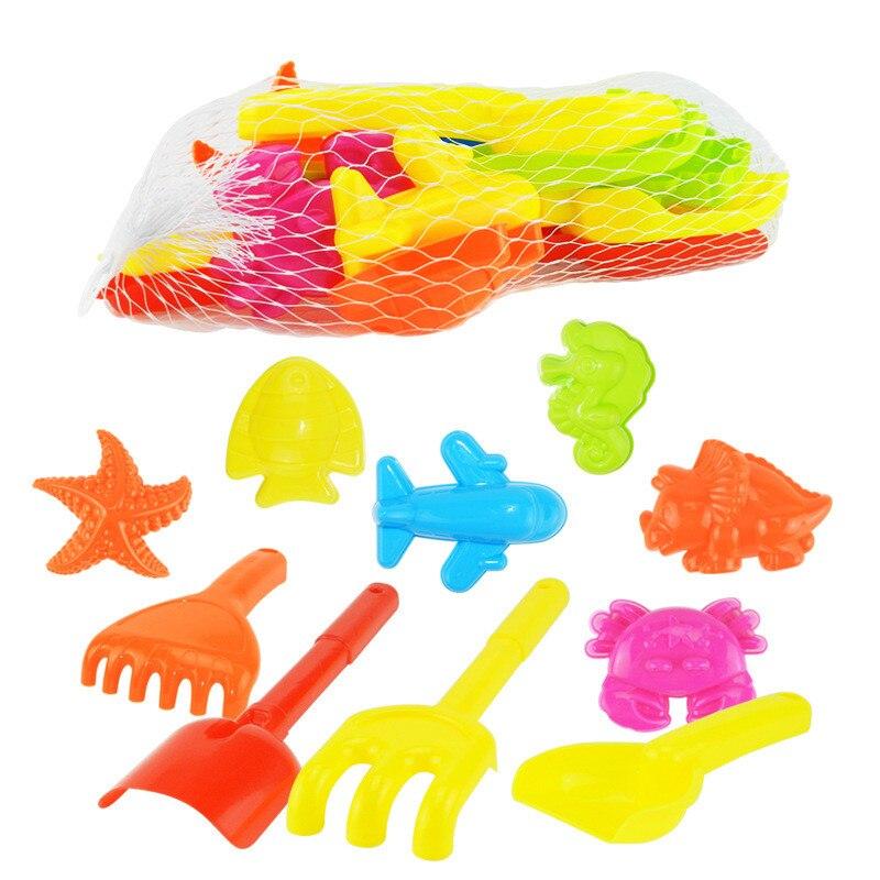 JOY-JOYTOWN 10Pcs/lot Classic Outdoor Toy Sand Beach Tools Starfish Fish Shovel Aircraft Crab Happy Childhood Summer Play Toys
