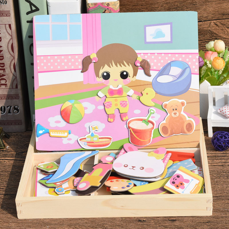 New Set Childrens Dressing Toy Change Clothing Toys Wooden Drawing Board Magnetic Jigsaw Puzzle Two-in-one Toys Birthday Gift