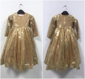 Image 5 - Золотые платья для маленьких девочек, бальные платья для детей, платье для дня рождения, красивые цветы для девочек, платье с золотыми блёстками, длинное платье