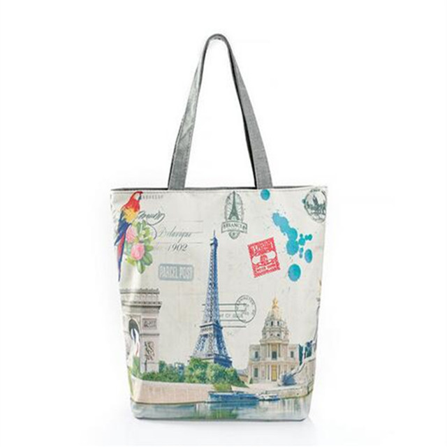 f1da0240bc M621 Cute Women Bag Individual Shoulder Bag High-capacity Character Cartoon  Printing Paris Eiffel Tower Handbag Gift Wholesale