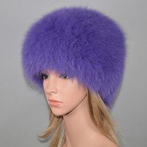 Image 2 - Kadınlar kış doğal gerçek tilki kürk şapka elastik sıcak yumuşak kabarık hakiki tilki kürk kap lüks kaliteli gerçek tilki kürk bombacı şapkalar