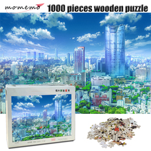 MOMEMO City Landscape Puzzle 1000 Pieces Wooden Adult Jigsaw Puzzle Toy Beautiful Landscape Puzzles for Children Educational Toy 1500 pieces peaceful night for city landscape painting puzzles thicker paper 1500 pieces puzzle toy gift for news festival