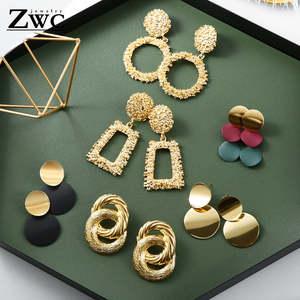 ZWC Vintage Earrings Trend Large Golden-Color Geometric Fashion Jewelry Metal Women