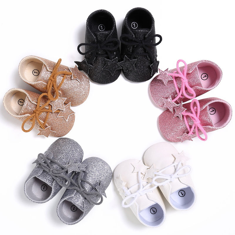 Newborn Baby Shoes Sequins First Walkers Kids Girls Boys Infant Toddler Sequins Star Soft Party Crib Shoes