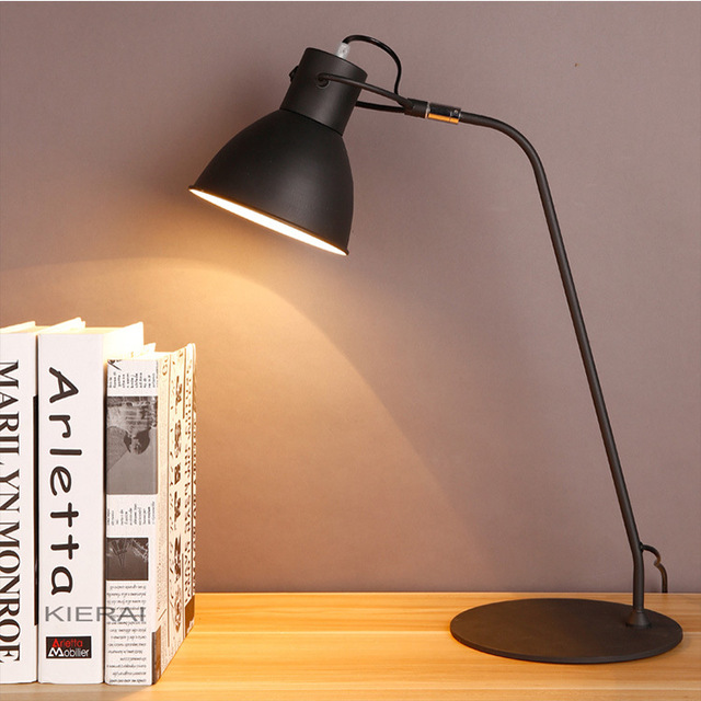 Moda Lâmpada de Mesa Para Sala de Estudo Ajustável Cabeça de Leitura Candeeiro de Mesa de Ferro E27 Para Lâmpada de Leitura de Cabeceira Quarto WTL017