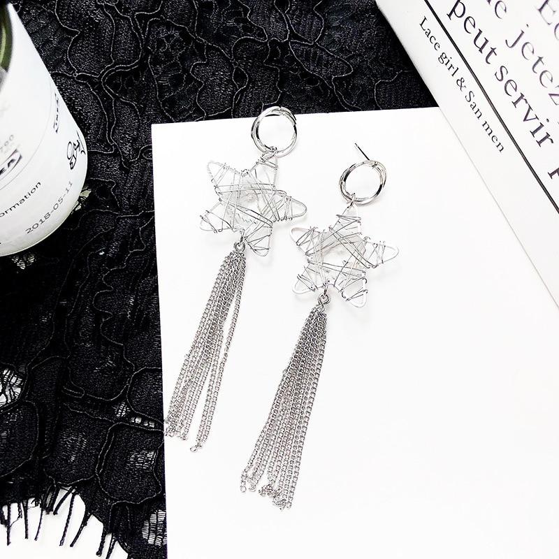 Fashion 2018 Hollow Out Heart Star Earrings Concise Joker Geometry Long Tassels Drop Earrings Jewelry Wholsale