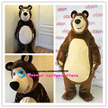 2017 High Quality Masha Bear Ursa Grizzly Mascot Costume Cartoon Character  bear mascot costume Free Shipping