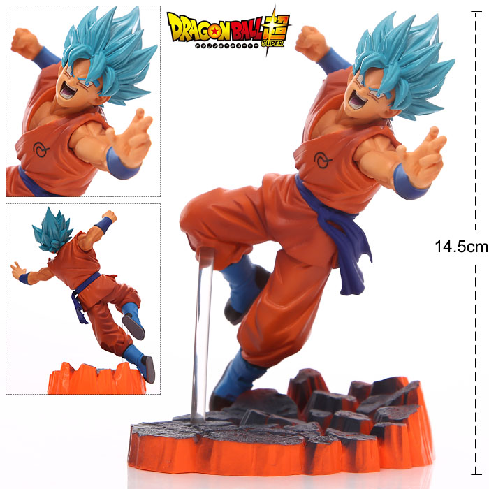 Dragon Ball Z Blue Super Saiyan Goku Son Gokou PVC Action Figures Model Collection Toys Dolls Gifts #F 16cm anime dragon ball z goku action figure son gokou shfiguarts super saiyan god resurrection f model doll