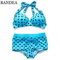 BANDEA 2017 New Bikinis Women Swimsuit Dot Push Up Bikini Set Halter Women Swimwear Bikini Set