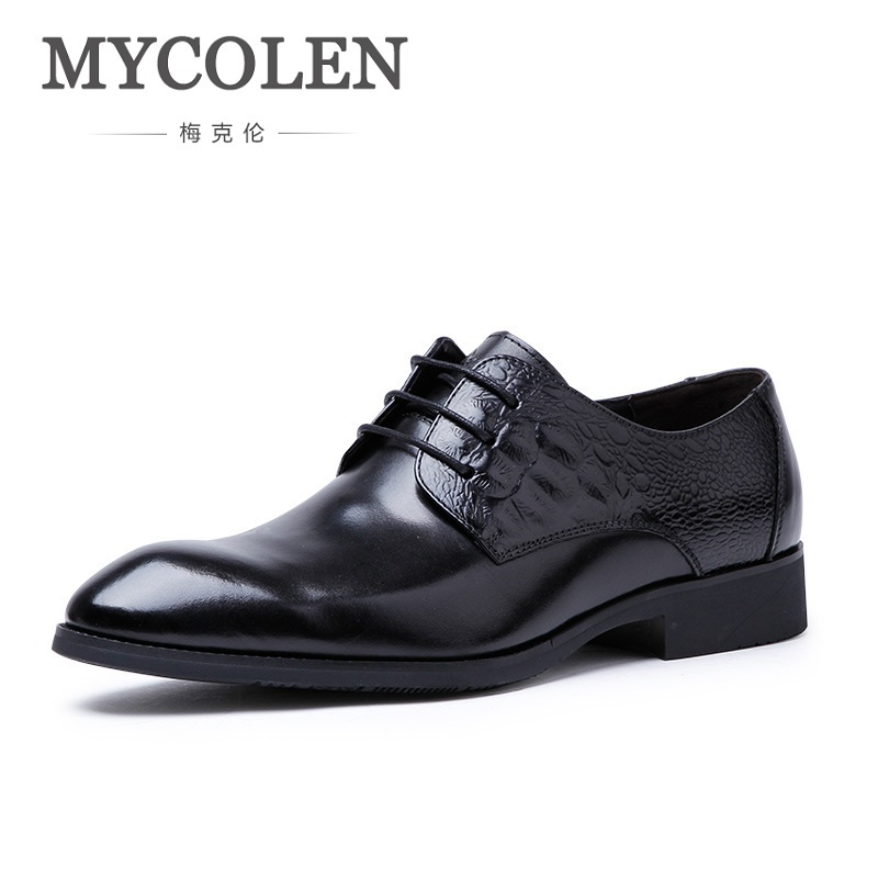 MYCOLEN Men Shoes Genuine Leather Cassic Luxury Mens Dress Shoes For Business Comfortable Men Shoes For Wedding Sapatos Homens mycolen mens casual genuine leather flats loafers for men comfortable business wine red black crocodile print man leather shoes
