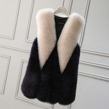 На осень-зиму Меховой жилет теплый раздел цвет длинный Лисий Меховой жилет Мода жилет из искусственного меха большие размеры пальто с мехом
