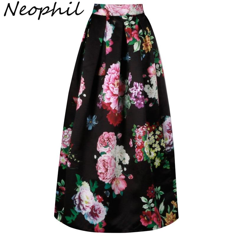 Neophil Bohemian Floral Floor Length Muslim Women Maxi Skirts High Waist Long Pleated Print 100cm Long Falda Larga Saias MS0511