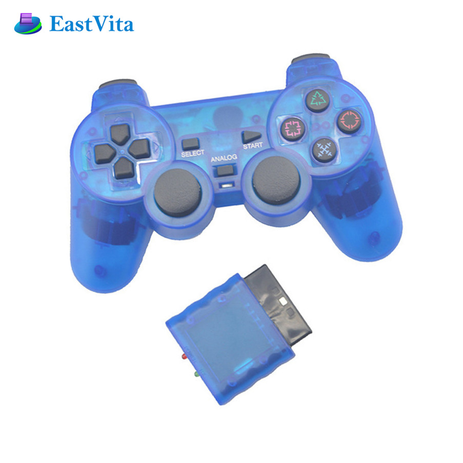 BEESCLOVER Wireless Gamepad Joystick Vibration Console Ps2 Controller Sony Shock Transparent