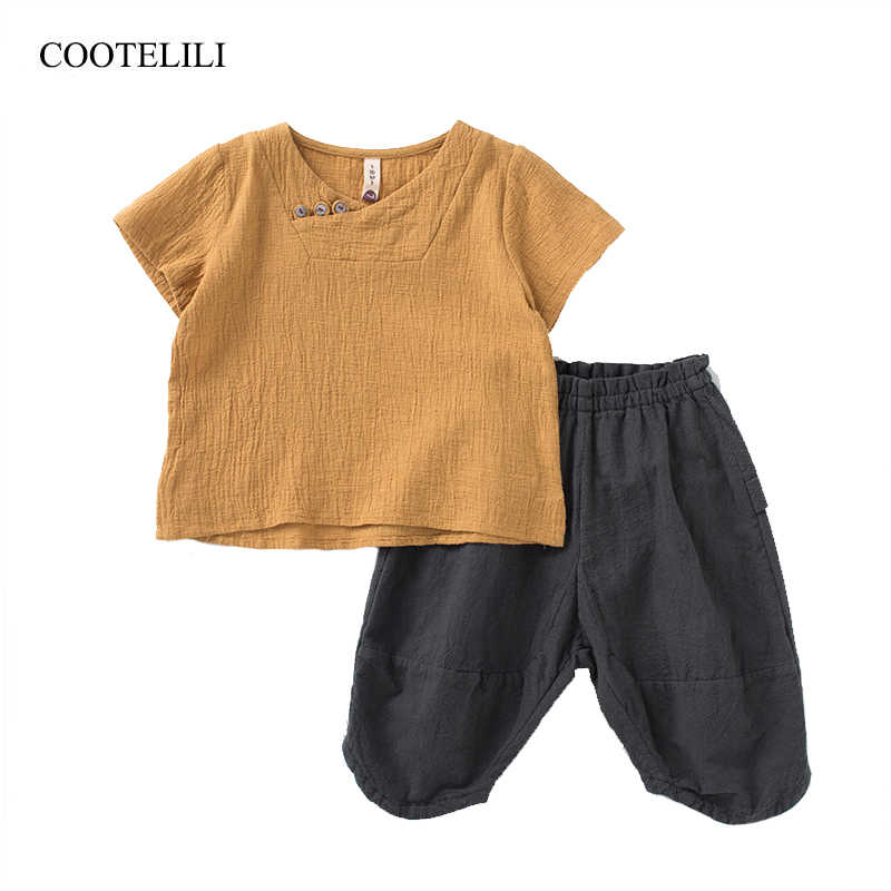COOTELILI 90-140cm Cotton Linen Summer Toddler Boys Clothes Sets Short Sleeve Baby T-Shirt + Pants Breathable Children Clothing
