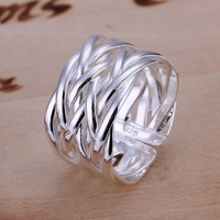 The best gift hot fashion exquisite silver open weave geometric rings silver plated classic models silver jewelry R022