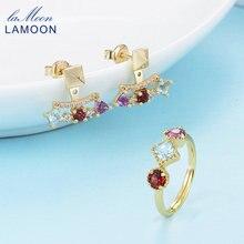 LAMOON Pyramid 0.7ct 3mm Natural Amethyst Garnet Topaz 925 Sterling Silver Jewelry 14K Yellow Plated Jewelry Set V013-1