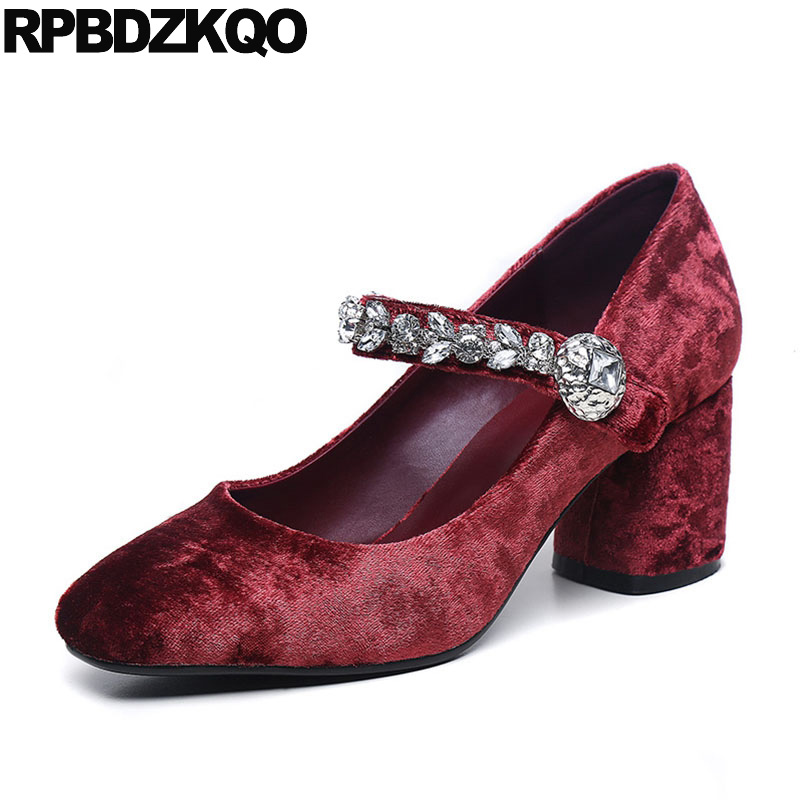 Square Toe Diamond Bling Size 4 34 Thick Mary Jane Fashion Block Heels Shoes For Women Wine Red Elegant Rhinestone Pumps Suede mary jane sterling u can algebra i for dummies