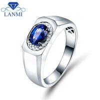 SOLID 14 К/au585 белого золота просто Дизайн Мода синий сапфир Для мужчин свадебные Кольца diamond Обручение украшения для отец подарок