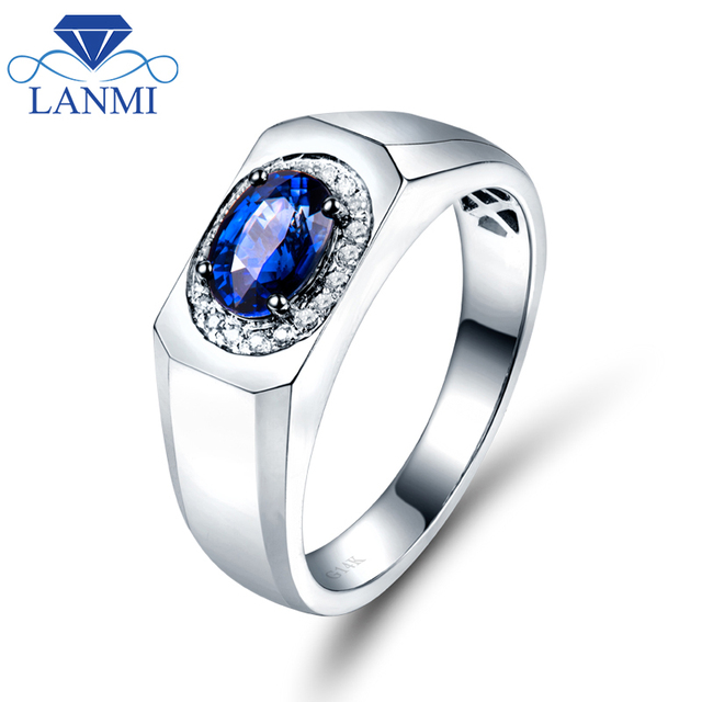 Solid 14KAU585 White Gold Simple Design Trendy Blue Sapphire Mens