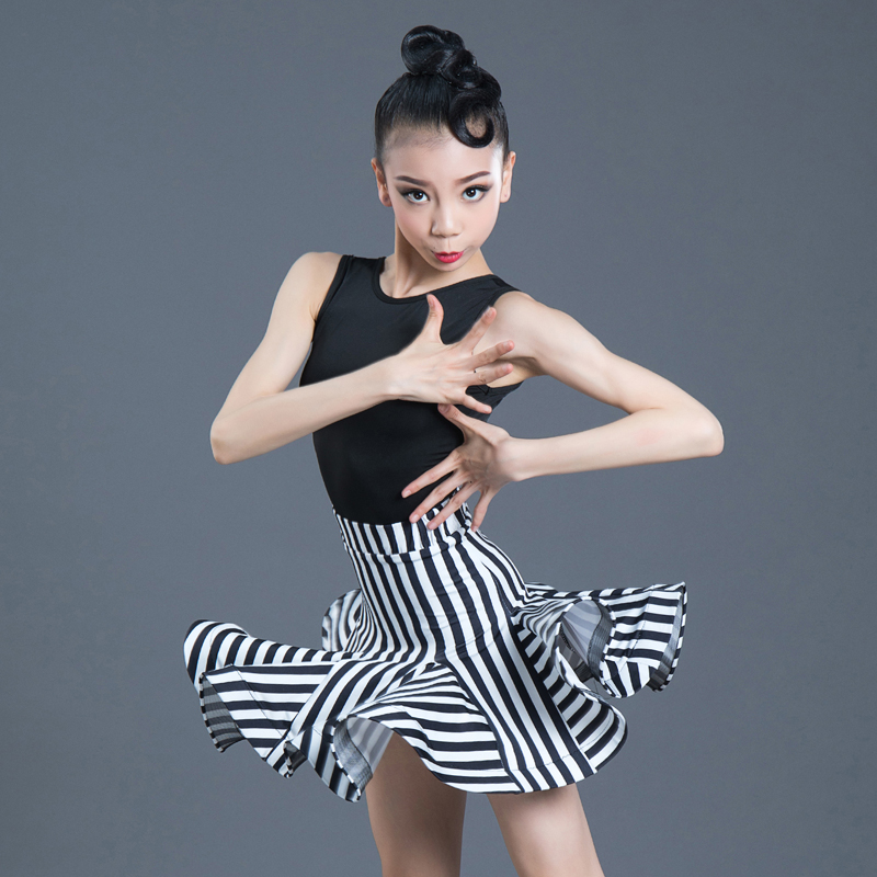 New Girls Latin Dance Dress Children Dance Leotard Skirt Sets Sleeveless Performance Competition Standard Kids Dance Costumes