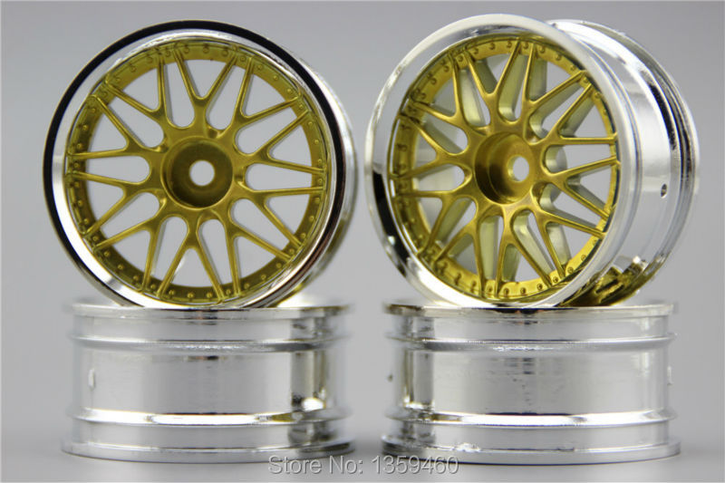4pcs 1 10 Touring Drift Wheel Rim F20cy Chrome Painting Gold 4mm Offset