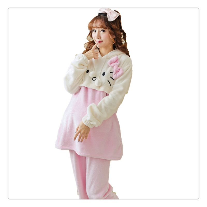ФОТО 2017 New Winter Flannel Maternity Pajamas Clothes Long Sleeve Cartoon cats printed Breastfeeding Pregnant Pajamas Set lounge
