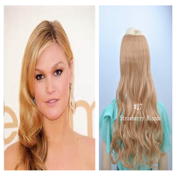 One Piece Wavy Hair Extensions Color Strawberry Blonde Synthetic
