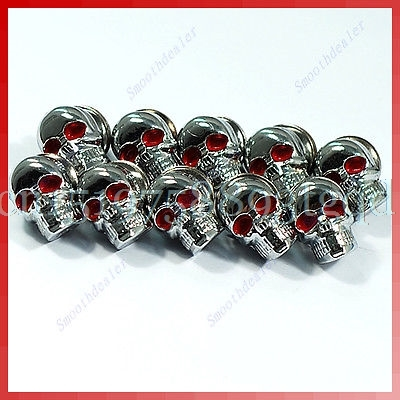10pcs Chrome SKULL License Plate Frame Screw Screws Bolt