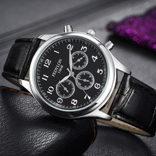 FEDYLON New Fashion Watch Men Elegant Leather Strap British Style Three Eye Decoration Dial Casual Business Quartz Wristwatch