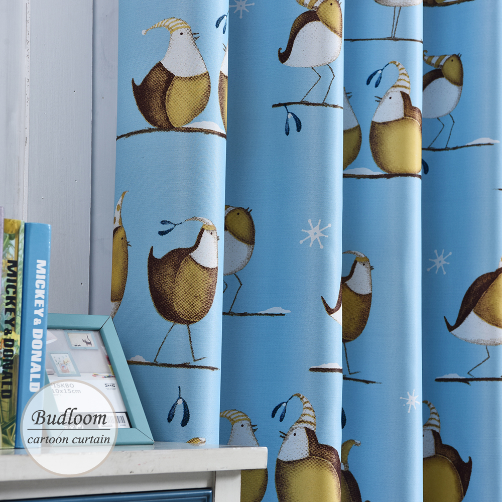 Bird sheer curtains - Cartoon Christmas Birds Double Sided Printed Blackout Curtains For Kids Room Window Drapes For Living Room